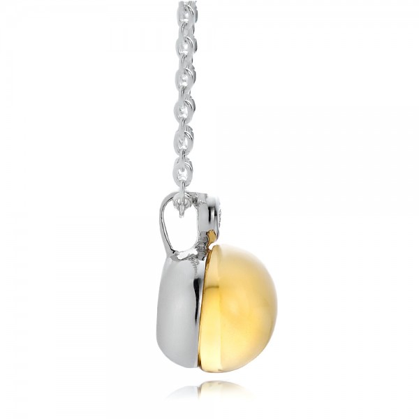 Citrine Cabochon and Diamond Pendant  - Side View -  100445 - Thumbnail