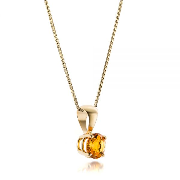 14k Yellow Gold Citrine Pendant - Flat View -  100962