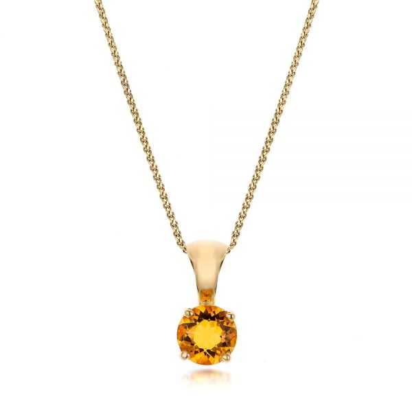 14k Yellow Gold Citrine Pendant - Three-Quarter View -  100962