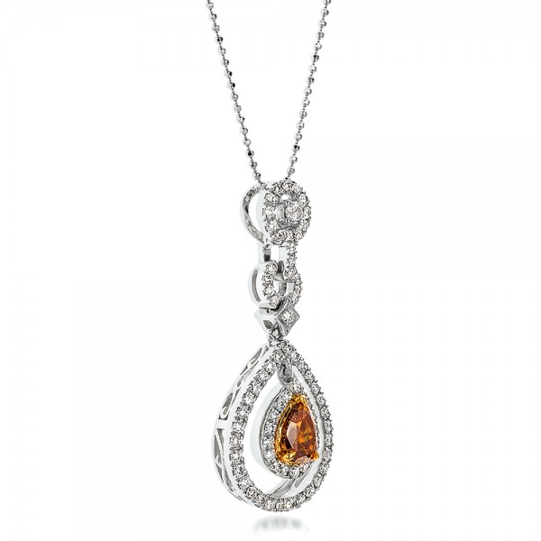 Deep Yellow Diamond Halo Pendant - Flat View -  100676 - Thumbnail