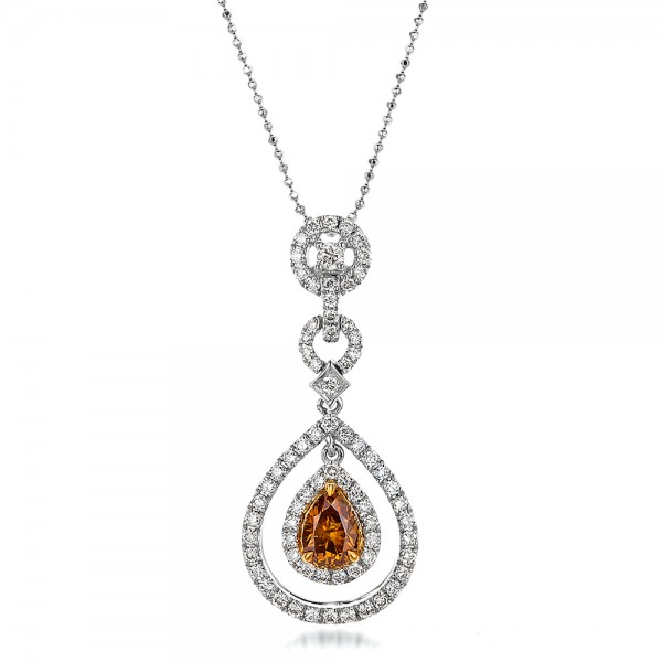 Deep Yellow Diamond Halo Pendant