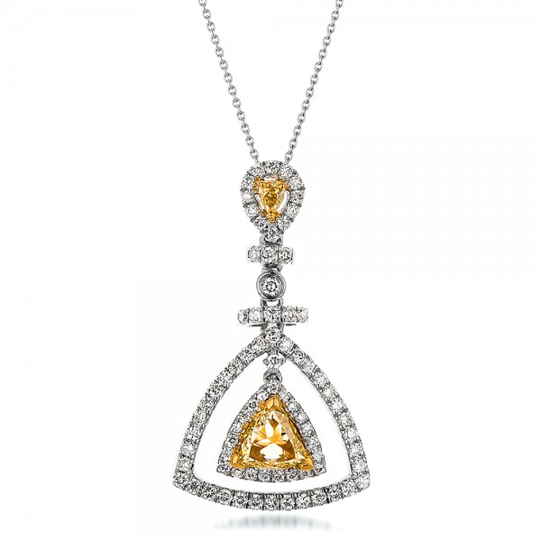 Yellow and White Diamond Halo Pendant