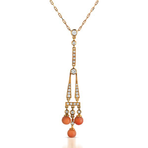 Coral Pearl and Diamond Pendant - Vanna K