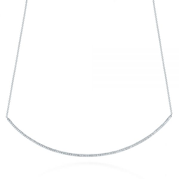 14k White Gold Curved Bar Diamond Necklace - Three-Quarter View -  105289