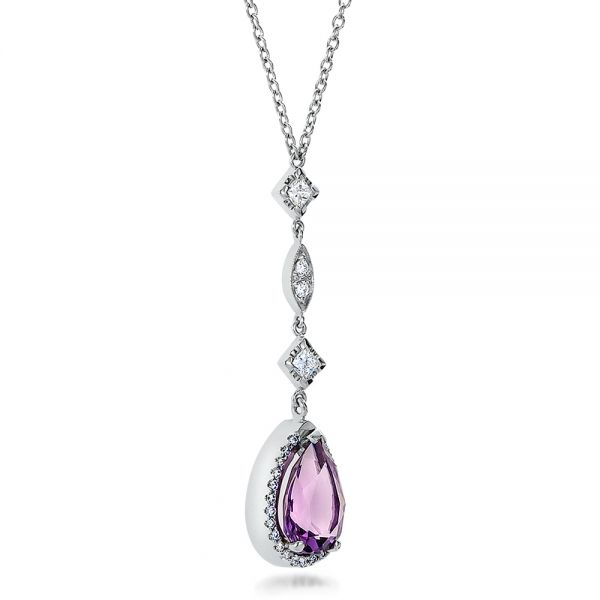 14k White Gold Custom Amethyst And Diamond Halo Pendant - Flat View -