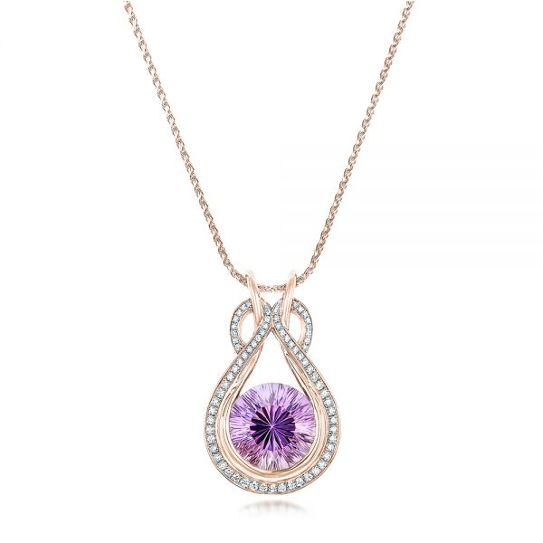 18k Rose Gold 18k Rose Gold Custom Amethyst And Diamond Pendant - Three-Quarter View -