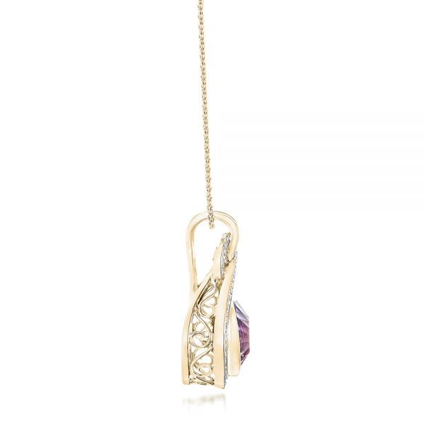 14k Yellow Gold 14k Yellow Gold Custom Amethyst And Diamond Pendant - Side View -  102526
