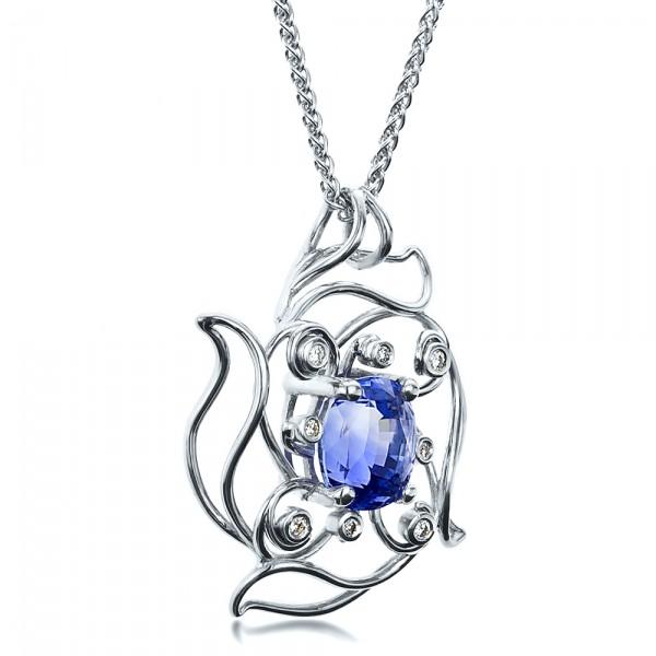 Custom Blue Sapphire Pendant - Laying View