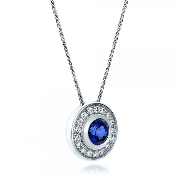 Custom Blue Sapphire and Diamond Halo Pendant - Laying View