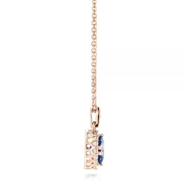 18k Rose Gold 18k Rose Gold Custom Blue Sapphire And Diamond Halo Pendant - Side View -  102740