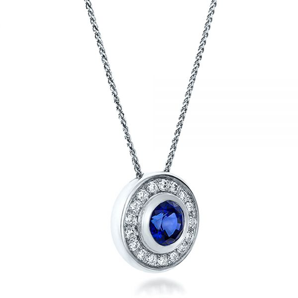 14K Gold Custom Blue Sapphire And Diamond Halo Pendant - Flat View -