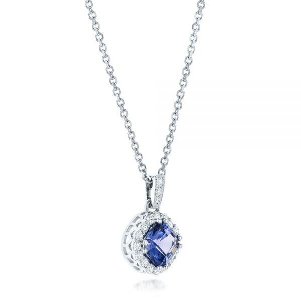 Custom Blue Sapphire and Diamond Halo Pendant - Flat View -  102740 - Thumbnail