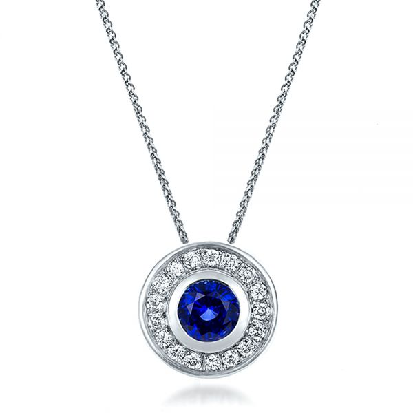 14K Gold Custom Blue Sapphire And Diamond Halo Pendant - Three-Quarter View -