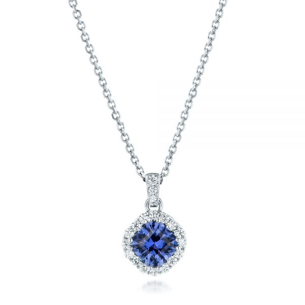 Custom Blue Sapphire and Diamond Halo Pendant - Image