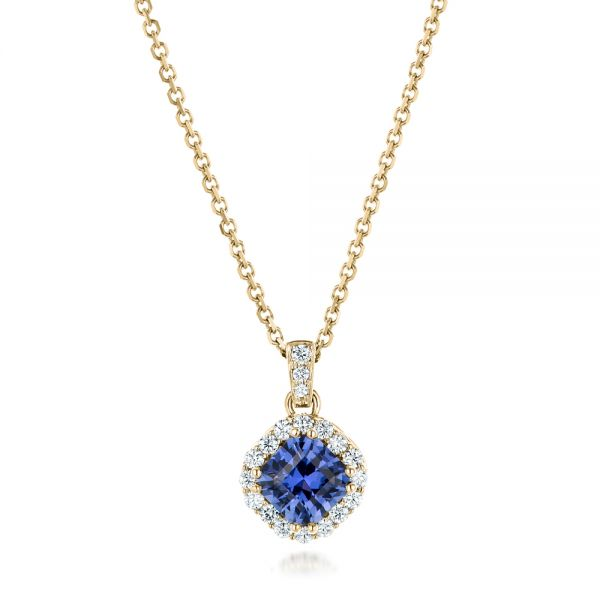 18k Yellow Gold 18k Yellow Gold Custom Blue Sapphire And Diamond Halo Pendant - Three-Quarter View -  102740