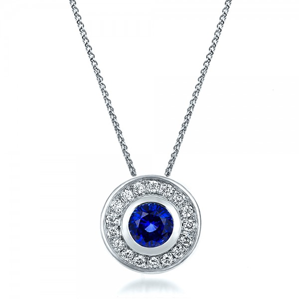 Custom Blue Sapphire and Diamond Halo Pendant
