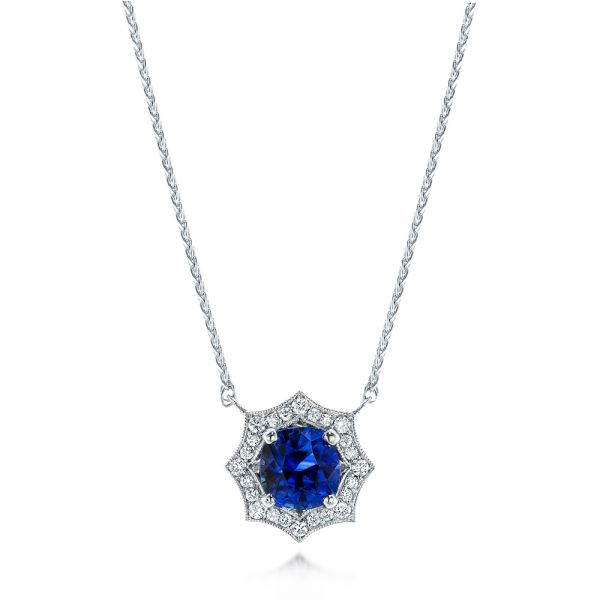 Custom Blue Sapphire and Diamond Pendant