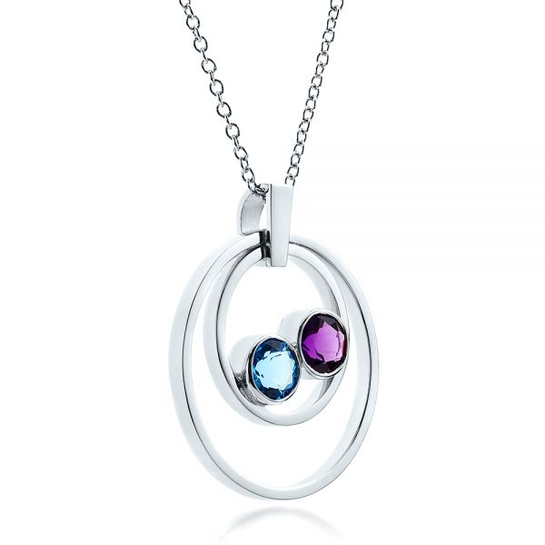 14k White Gold Custom Blue Topaz And Amethyst Pendant - Flat View -
