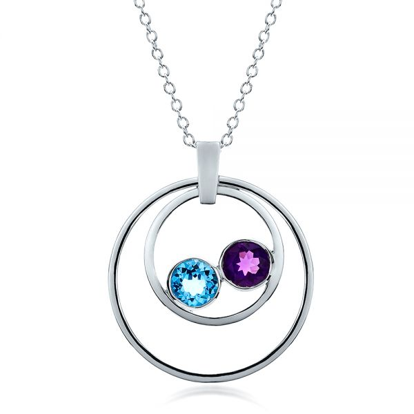 14k White Gold Custom Blue Topaz And Amethyst Pendant - Three-Quarter View -