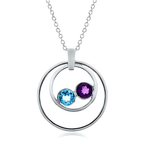 Custom Blue Topaz and Amethyst Pendant
