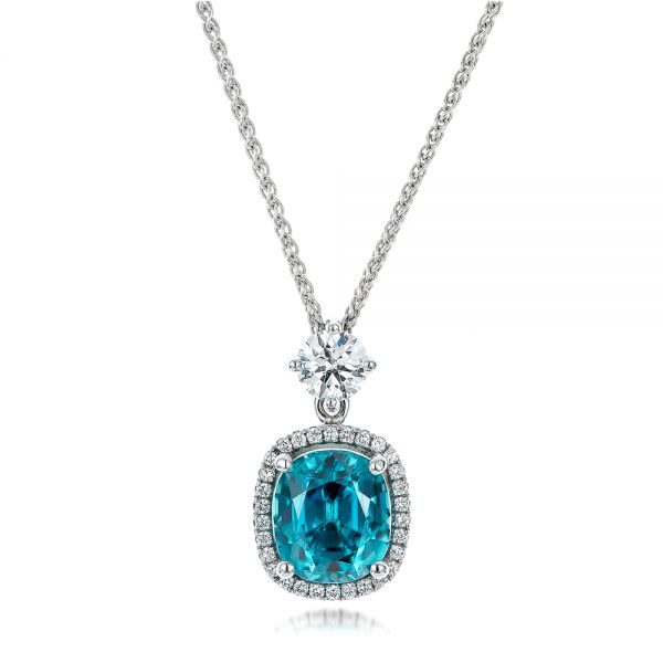 Custom Blue Zircon and Diamond Pendant