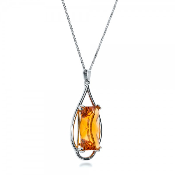 Custom Citrine and White Gold Pendant - Laying View