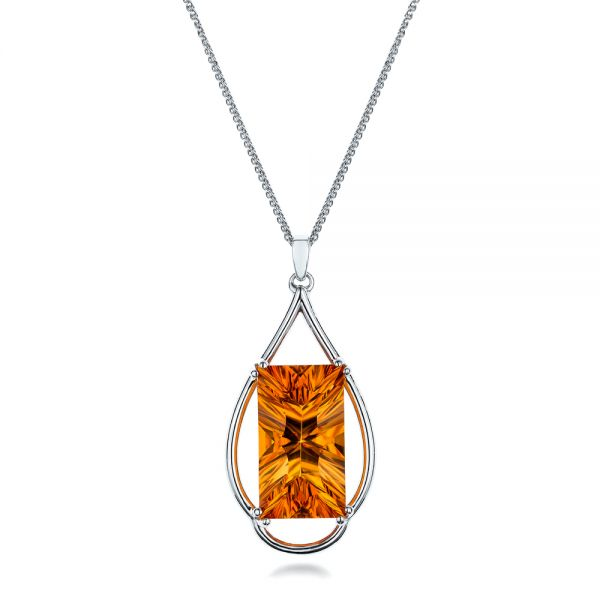 Custom Citrine and White Gold Pendant