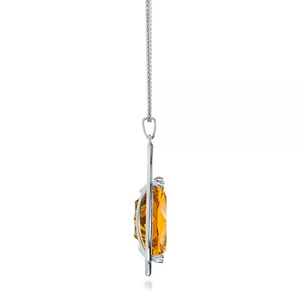 Custom Citrine and White Gold Pendant - Side View -  102140 - Thumbnail