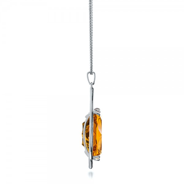 Custom Citrine and White Gold Pendant - Side View