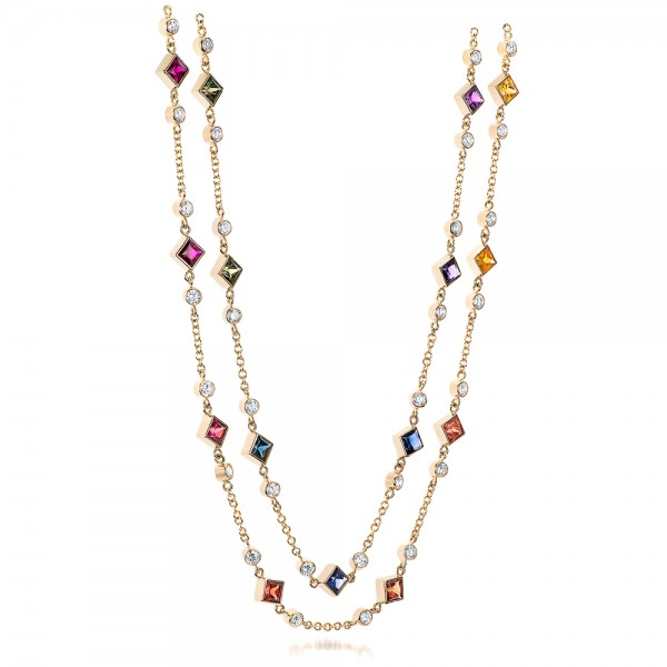 Custom Multi-Color Sapphire and Diamond Necklace - Laying View