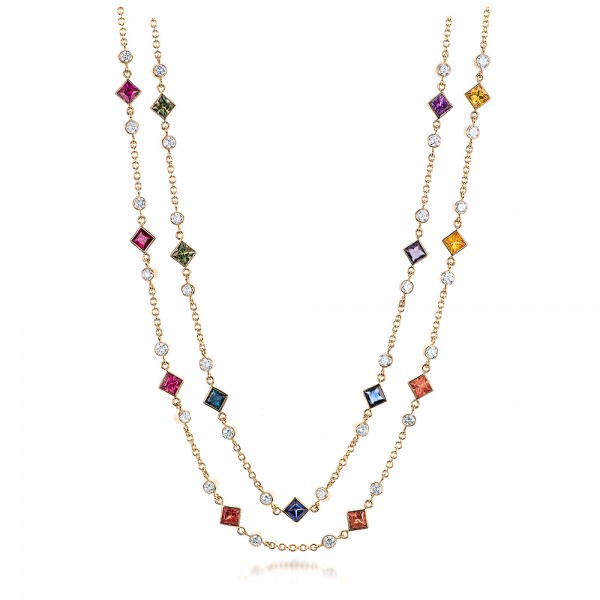 Custom Multi-Color Sapphire and Diamond Necklace