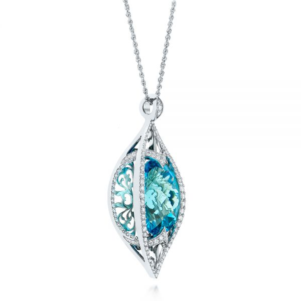 Custom Cut Blue Topaz and Diamond Pendant - Flat View -  103622 - Thumbnail