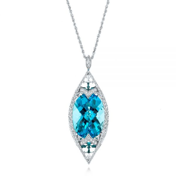 Custom Cut Blue Topaz and Diamond Pendant - Image