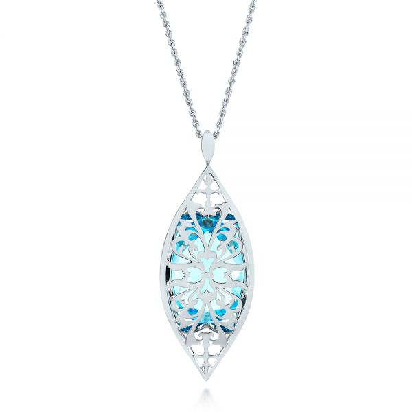 Custom Cut Blue Topaz and Diamond Pendant - Top View -  103622 - Thumbnail
