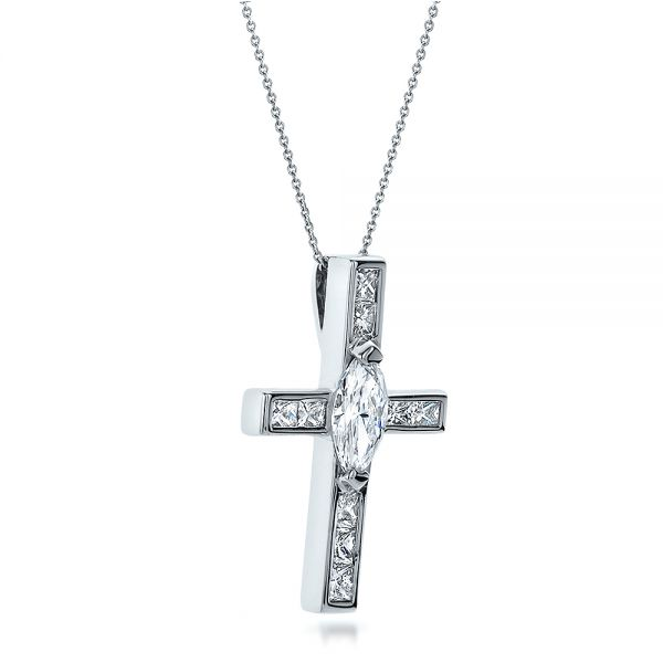 18k White Gold Custom Diamond Cross Pendant - Flat View -  100769