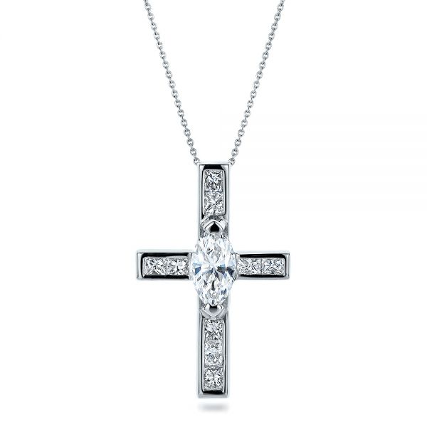 18k White Gold Custom Diamond Cross Pendant - Front View -  100769
