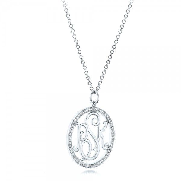 14k White Gold Custom Diamond Halo Monogram Pendant - Flat View -  102410