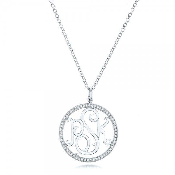 14k White Gold Custom Diamond Halo Monogram Pendant - Three-Quarter View -  102410