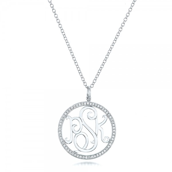 Custom Diamond Halo Monogram Pendant