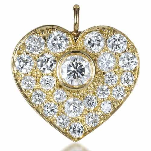 Custom Diamond Heart Pendant - 3/4 View
