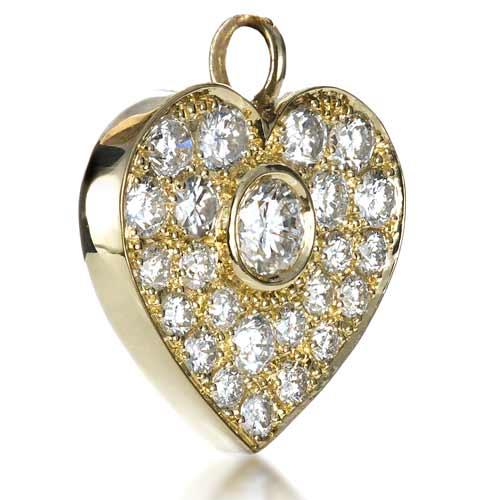 Custom Diamond Heart Pendant - Side View