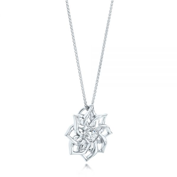 14k White Gold Custom Diamond Pendant - Flat View -  102915