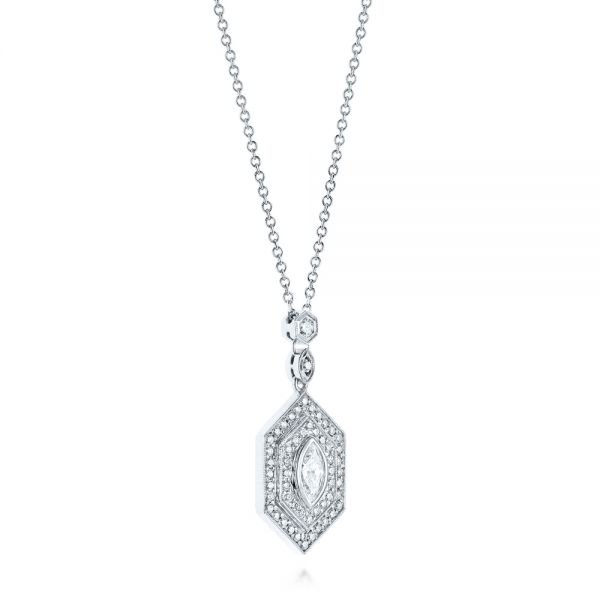 Custom Diamond Pendant - Flat View -  103983 - Thumbnail