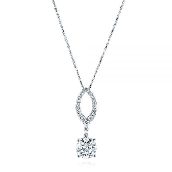 14k White Gold Custom Diamond Pendant - Three-Quarter View -