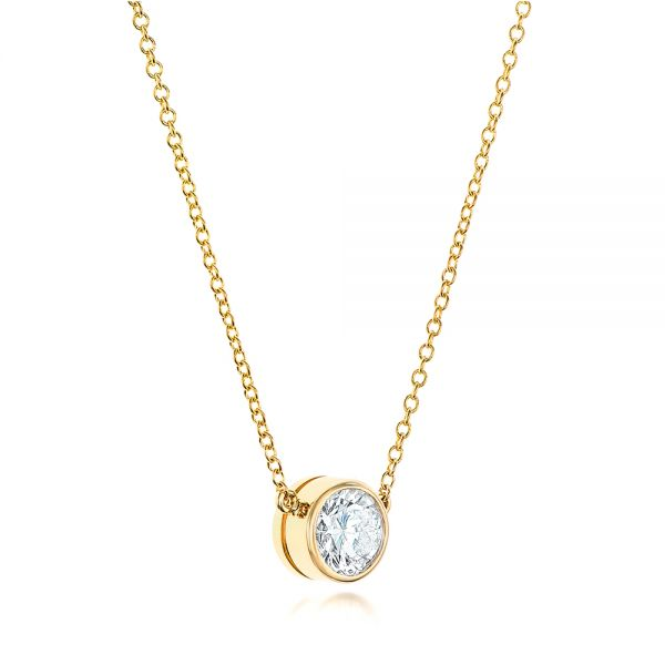 18k Yellow Gold Custom Diamond Pendant - Flat View -