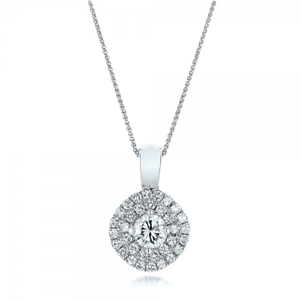 Custom Double Halo Diamond Pendant