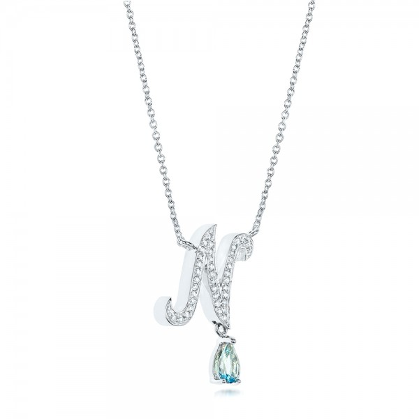 Custom Diamond and Aquamarine Pendant - Laying View