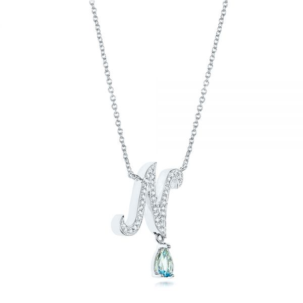14k White Gold Custom Diamond And Aquamarine Pendant - Flat View -