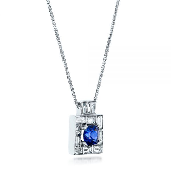 14k White Gold Custom Diamond And Blue Sapphire Pendant - Flat View -  102228