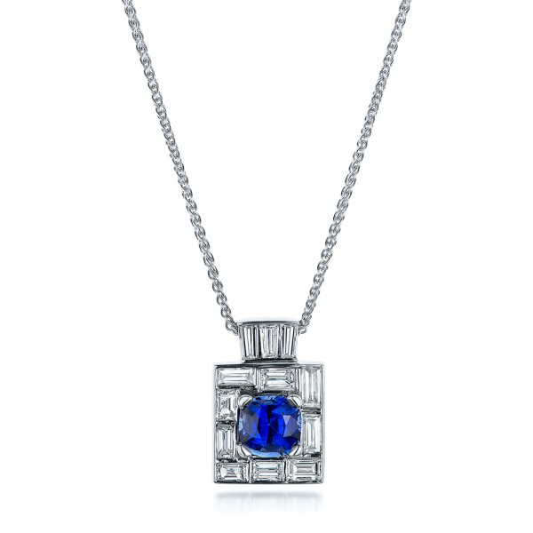Custom Diamond and Blue Sapphire Pendant